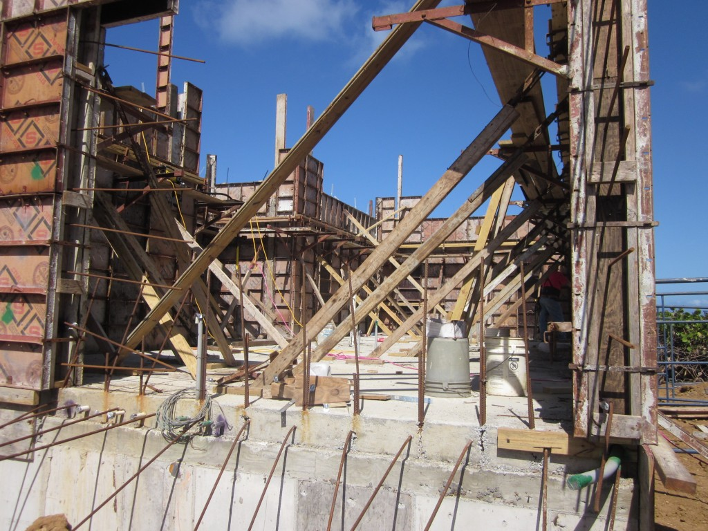 2-9-2011 - Walls formed, ready to be poured, heavily supported